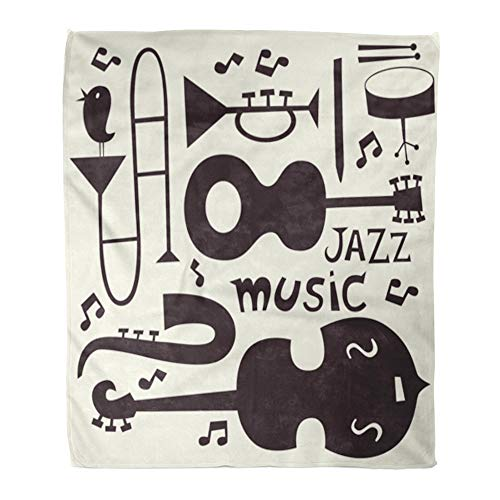 Emvency Throw Blanket Warm Cozy Print Flannel Music Jazz Musical Instruments Trumpet Blues Guitar Silhouette Trombone Note Comfortable Soft for Bed Sofa and Couch 60x80 Inches