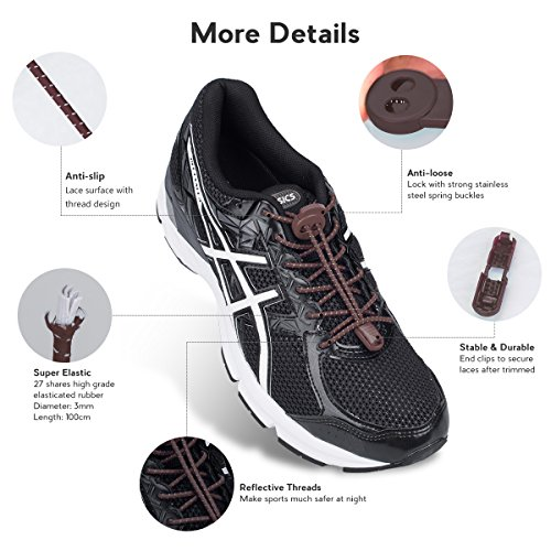 Climbing 3 Running Tie Pairs Reflective for Running with Adults for System Hiking Kids Elastic and Shoes Lock Shoe No Laces Shoelaces Quick Brown Lacing 1wFq1