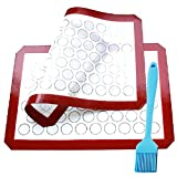 Formwin Silicone Baking Mats Set of 2 Half Sheets Non Stick Reusable Baking Mats Cookie for macarons BPA-Free Professional Grade Baking Mats with a large brush,Cookie Mat Set By
