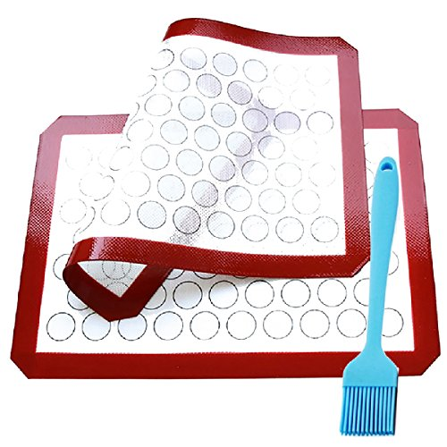 Silicone Baking Mats Set of 2 Half Sheets Non Stick Reusable Baking Mats Cookie for macarons BPA-Free Professional Grade Baking Mats with a large brush,Cookie Mat Set By Formwin (Large Red Velvet Cake Recipe)