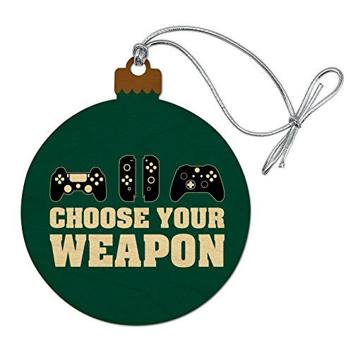Choose Your Weapon Controllers Games Gamer Wood Christmas Tree Holiday Ornament (Christmas Ornaments Xbox)