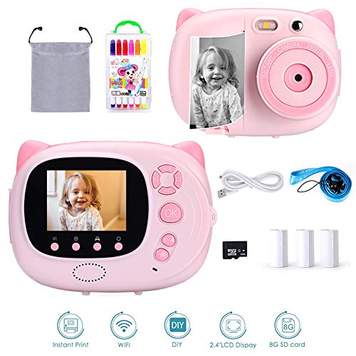 Ymiko Instant Digital Camera for Boys and Girls, Zero Ink Camcorders Camera with 2.4 Inches Ips Display, Print Paper, Color Pencil, Mini Rechargeable and Shockproof Selfie Camera Creative DIY for Kids