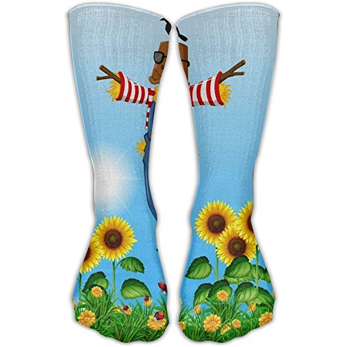 Cute Scarecrow Standing In Sunflower Casual Socks Crew