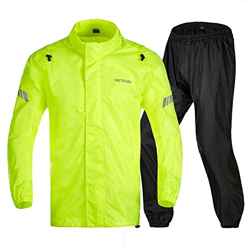 Motorcycle Rain Suit,Waterproof Fishing Hiking Golf Packaway Rain Coat,Hi Viz Reflective Bicycle Rain Jacket (Fluo, L)