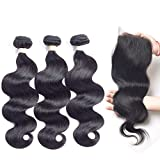 Allrun Hair 7A Brazilian Body Wave 3 Bundles with Free Part Lace Closure 100% Unprocessed Human Hair Weave Extensions Bundles with 4×4 Closures (16 18 20+16'' Closure)