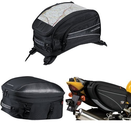 Nelson-Rigg CL-2015-ST Black Strap Mount Journey Sport Tank Bag,  CL-1060-ST Black Sport Touring Tail/Seat Pack,  and  CL-950 Black Deluxe Sport Touring Saddle Bag Bundle