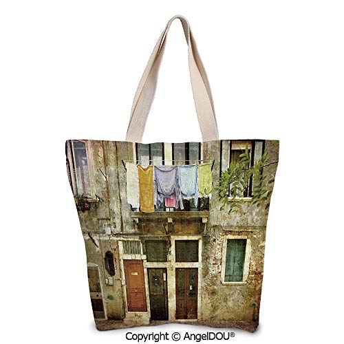 SCOXIXI Venice Large Ladies Canvas Shoulder Bags Shopping Bag Old Weathered Bui