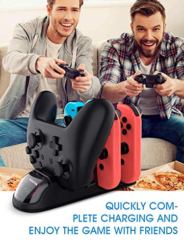 Kootek Controller Charger Dock for Nintendo Switch Joy-Cons and Pro Controller, 5 in 1 Charging Stand Station Compatible with Nintendo Switch Controller, with LED Indicator, Type-C Charging Cable