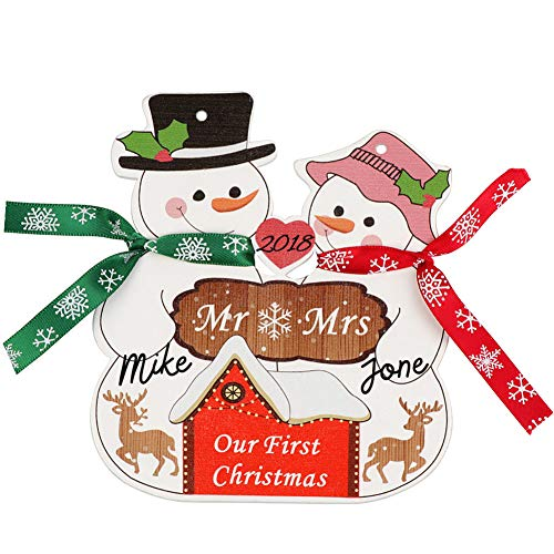 Aytai Our First Snowmen Christmas Ornaments Sign Your Name Mr &Mrs -