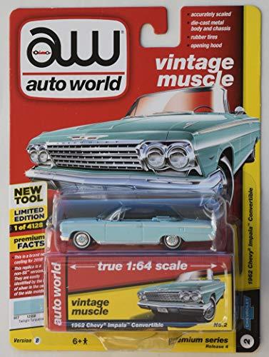 Auto World Vintage Muscle 1:64 Scale, LT. Blue 1962 Chevy Impala Convertible NO.2 Premium Series