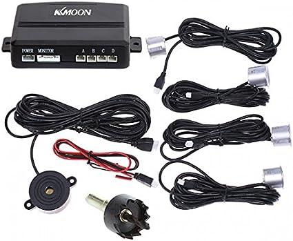 KKmoon Syst/ème de Radar de Stationnement de Voiture Radar Sound Alerte avec 4 Capteurs Argent