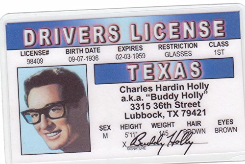 Buddy Holly Novelty Drivers License / Fake I.d. Identification for Rock Legend Fans