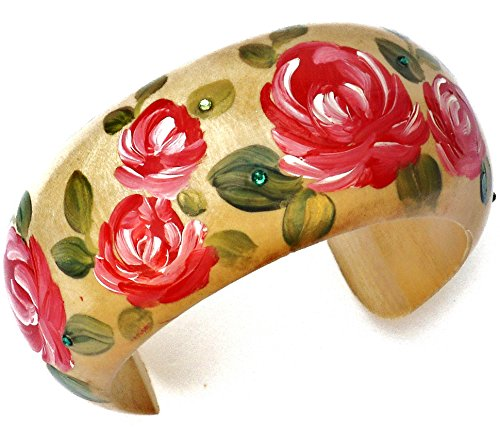 Wide Wood Flower Bangle Bracelet with Hand Painted Red Roses and Swarovski Crystal (Collection Red Painted Wood)