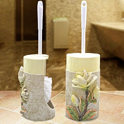 (L.I. Creative Set The Base of The Toilet Brush Bathroom wash of European Fur Brush Handle WC WC Brush Cleaning Brush Toilet Brush,Magnolia)