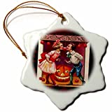 3dRose Sandy Mertens Vintage Halloween Designs - Vintage Halloween Children Bobbing For Apples - 3 inch Snowflake Porcelain Ornament (orn_6201_1)