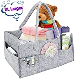 Baby Diaper Caddy Organizer Portable Nursery Diaper Tote Bag Large Storage Bin for Crib, Changing Table, Car Travel Organizer, Baby Shower Gift Basket Newborn Registry Must Haves, 14'x9'x7'