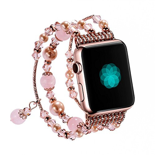 Ideashop Watch Band for Apple Watch, Handmade Beaded Faux Pearl Strap Bracelet Replacement iWatch Strap Women Girls for Apple Watch Series 2 Series 1 …