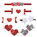 Zapire Baby Girl Headbands with Hair Clips Set Red Bow knot Love Heart Clips Hair Bows for Baby Girl Hairbands Hair Bands