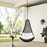 Modway EEI-2657-GRY-WHI-SET Abate Wicker Rattan Outdoor Patio Balcony Porch Lounge Swing Chair Set with Hanging Steel Chain Gray White