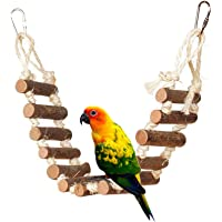 Rope Ladder Bird Toy, bird ladder rope, Naturals Rope Wooden Ladder Bird Toy Swing Ladder Toy for Parrots Pet Hamster…