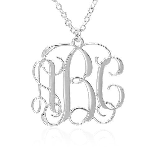 Amazon monogram necklace 05 inch personalized monogrammed monogram necklace 05 inch personalized monogrammed pendant 925 sterling silver jewelry aloadofball Choice Image
