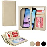 Cooper Cases(TM) Infinite Pro Lava Iris 501, 502, 503, 503e, 504q, 504q+, 506q Smartphone Leather Wallet in Beige (Universal Fit; Soft, Fine-Grain PU Leather; Card Slots; ID Holder; Billfold)