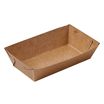 BESTOYARD 50 Unids Caja de Papel Kraft Almuerzo Ensalada Cartón Forma de Barco Saque Contenedores Caja