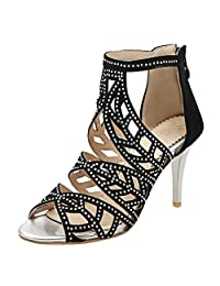 Atyche Women's High Heels Mary Janes Latin Dance Pumps Ankle Strap Open Toe Sandals Summer Shoes