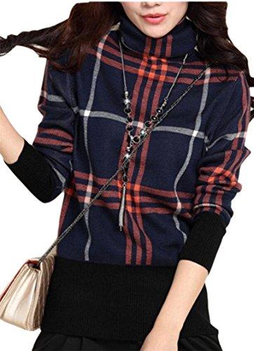 GenericWomen Generic Womens Color Block Long Sleeve Cowl Neck Knit Sweater Dark Blue S by GenericWomen