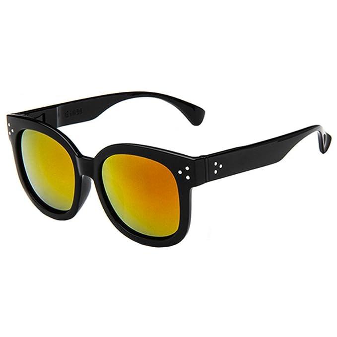 FancyG® Fashion Inspired Big Round Lens Luxury Cool Designed UV 400 Protection Sunglasses Unisex Eyewear - Black with Gradient Orange Lens