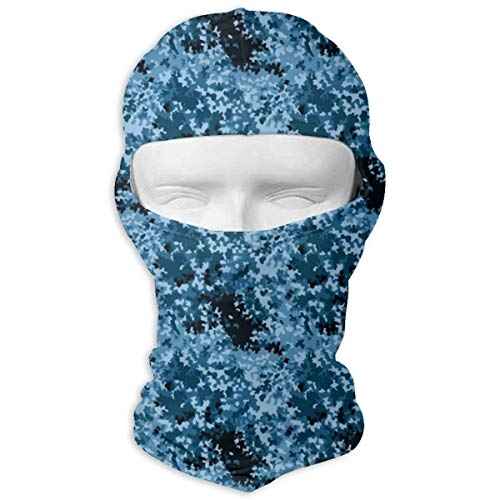 Ski Mask Blue Camo Paint Balaclava UV Protection Bike Face Mask Windproof Mask Dust Head Hood Full Face Cover for Halloween Cosplay Party Cycling Hiking -