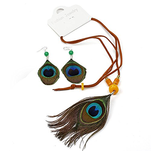RUNHENG Handmade Feather Peacock Pendant Necklace and Earring Fashion Set