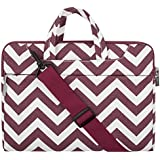 Mosiso Laptop Shoulder Bag / Briefcase, Canvas Fabric Carrying Case Bag for 12.9 iPad Pro / 13.3 Inch Laptop / Notebook Computer / MacBook Air / MacBook Pro, Chevron Wine Red