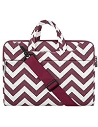 Mosiso Chevron Style Fabric Laptop Sleeve Case Cover Bag with Shoulder Strap for 13-13.3 Inch MacBook Pro, MacBook Air, Notebook Computer, Wine Red