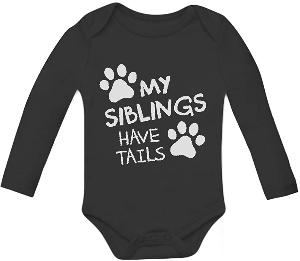 Tstars My Siblings Have Tails Funny One-piece Infant Bodysuit Baby Long Sleeve Onesie