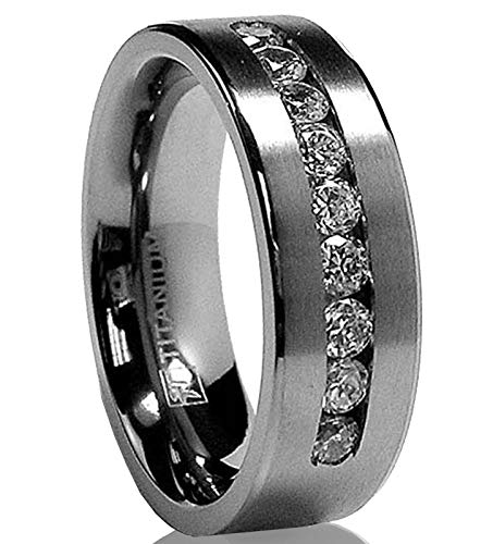 8 MM Men's Titanium Ring Wedding Band with 9 Large Channel Set Cubic Zirconia CZ Size - White Tungsten Gold Vs