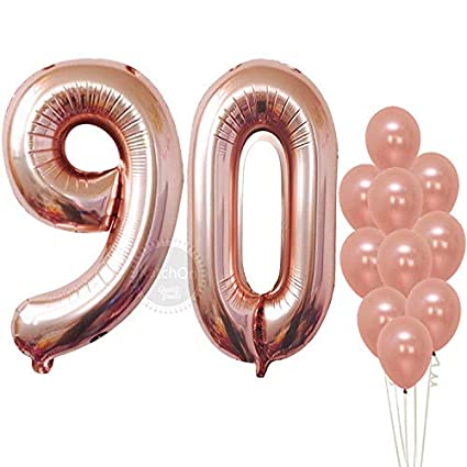 Rose Gold Number 90 Balloons Giant Pack Of 12