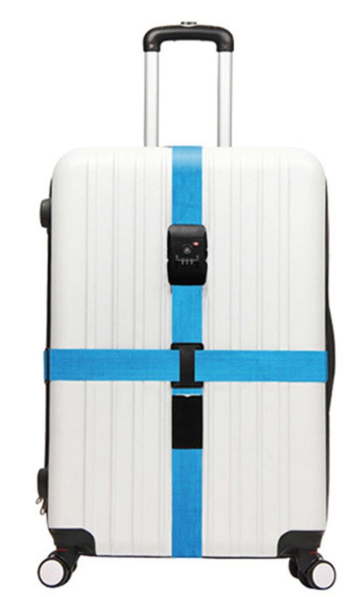 200cm Serrure Ordinaire Bleu WSLCN Sangle Valise R/églable Sangle Bagage avec Serrure TSA /à Combinaison Ceinture Valise Ajustable Sangle Crois/ée pour Bagage S/écurit/é 5