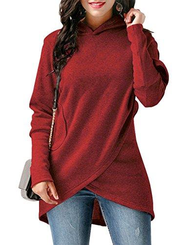 WAJAT Womens Sweatshirt Tunic, Womens Wrap Shirt Overall Long Sleeve Casual Fall Winter Juniors Jacket Wine Red (Tunic Shirt Jacket)