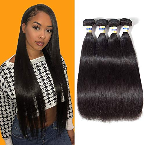 (CCOLLEGE 8A Brazilian Virgin Human Hair 4 Bundles Straight Wave Weft 100% Real Human Hair Extensions Natural Color (18 20 22 24))