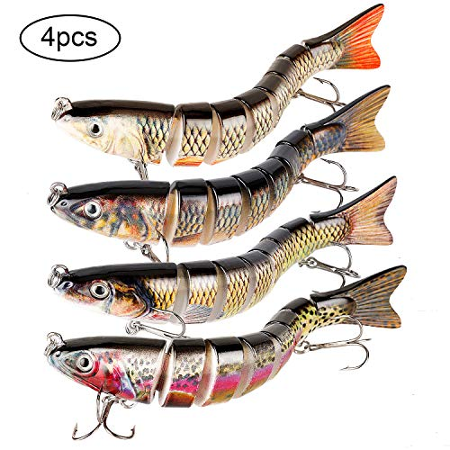 (Yagool Trout Fishing Lures, Sea Fishing Lure, Fishing Baits and Lures for Freshwater Saltwater Slow Sinking 4-Pack 8 Segment 5.31 inches)