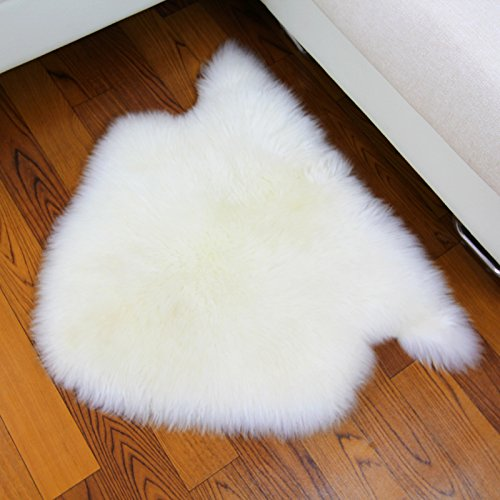 Long Wool Sheepskin Rug (IMQOQ Genuine Sheepskin Long Wool Area Rug Pad Small Carpet Mat Room White)