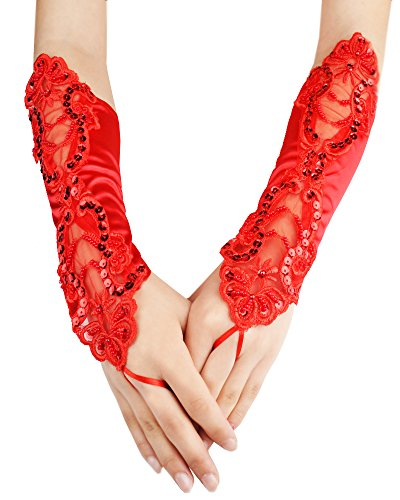 JISEN Women Banquet Party Fingerless Elegant Lace Embroidered Bridal Gloves 11 Inch Red