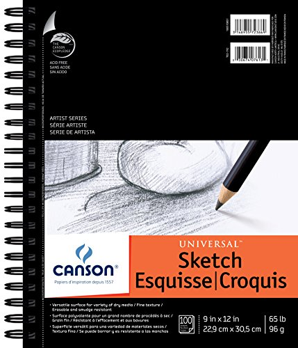 (Canson Artist Series Universal Paper Sketch Pad, for Pencil and Charcoal, Micro-Perforated, Side Wire Bound, 65 Pound, 9 x 12 Inch, 100 Sheets)