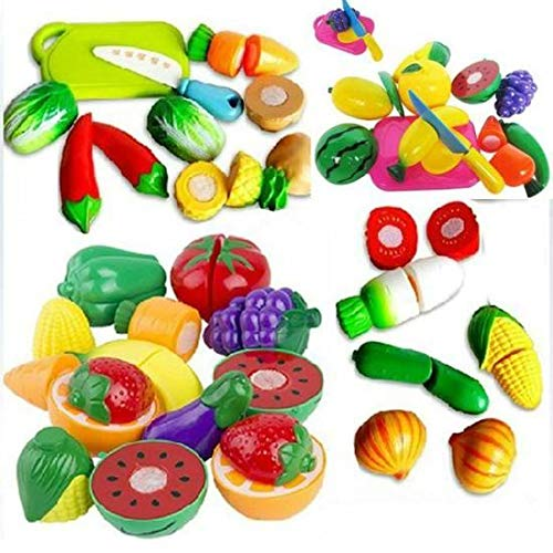 Easyflower Novel and Unique Pretend Kitchen Toys 18PC Cutting Fruit Vegetable Pretend Play Puzzle Toys Children Kids Educational Toy Set