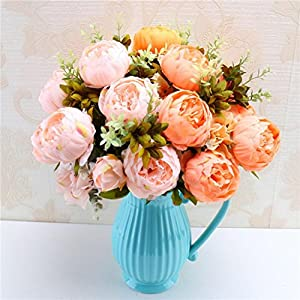 Makaor Artificial Flowers Fake Flower Bouquet Vintage Artificial Peony Silk Flowers Bouquet for Party Home Decorations 68