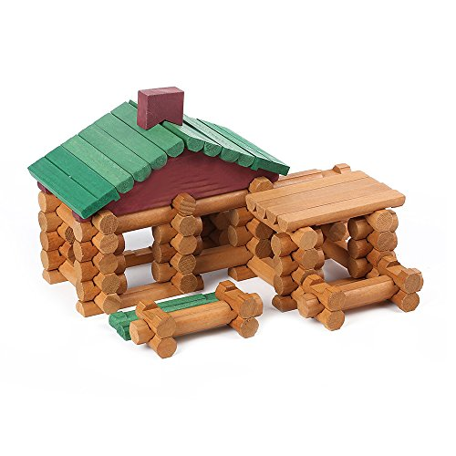 Joqutoys Wood House Logs Construction Building Set Preschool Education Toys for Kids 170 Piece (Kids Log)