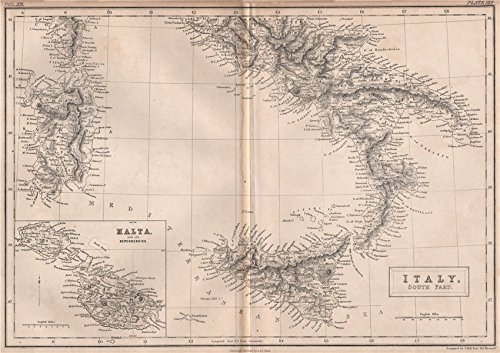 1860 Italy Antique (SOUTH ITALY & MALTA. Railways. BRITANNICA - 1860 - old map - antique map - vintage map - Italy maps)