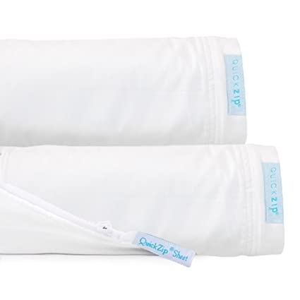 QuickZip Fitted Sheet Set U2013 Includes 1 Fitted Base U0026 2 Zip On Sheets