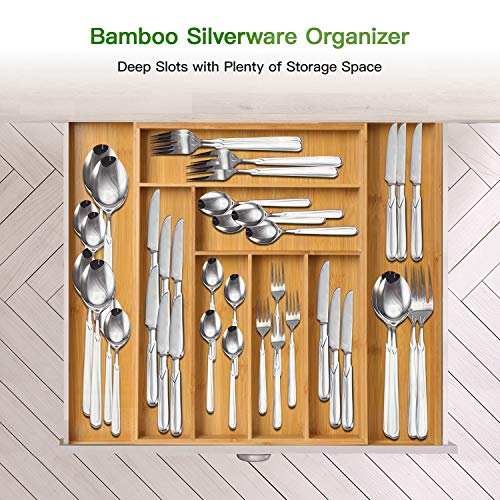 Bamboo expandable drawer organizer